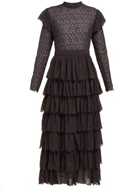 Florrie Tiered Broderie-anglaise Silk Midi Dress - Womens - Black