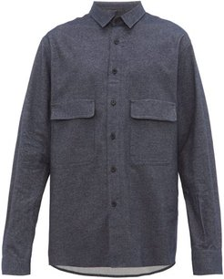 Chest-pocket Brushed Cotton-twill Shirt - Mens - Navy