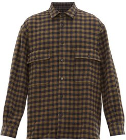 Oversized Checked Wool Shirt - Mens - Navy Multi