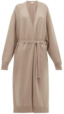 Long Shawl Belted Cashmere Cardigan - Womens - Grey