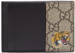 Tiger-print Gg Supreme Canvas Cardholder - Mens - Beige