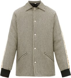 GG-striped Houndstooth Overcoat - Mens - Grey