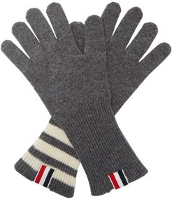 Tricolor Striped-cuff Gloves - Mens - Grey
