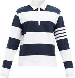 Striped Long-sleeved Rugby Shirt - Mens - Navy