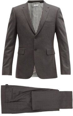 Single-breasted Wool Suit And Tie - Mens - Dark Grey