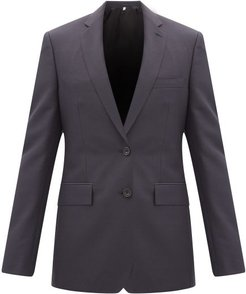 Single-breasted Wool-blend Crepe Suit - Mens - Navy
