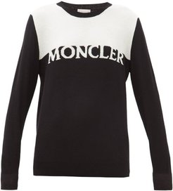 Logo-intarsia Wool-blend Sweater - Womens - Black White