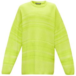 Dropped-sleeve Striped Sweater - Mens - Yellow