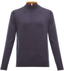 Artist Stripe-collar Half-zip Merino Wool Sweater - Mens - Navy