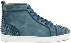 Lou Spikes High-top Suede Studded Trainers - Mens - Blue