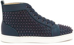 Louis Spiked Iridescent-leather High-top Trainers - Mens - Blue