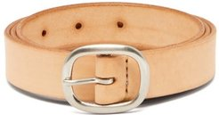 Patinated-leather Belt - Mens - Beige