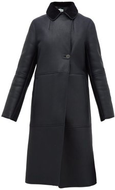 Notch-lapel Shearling Coat - Womens - Navy