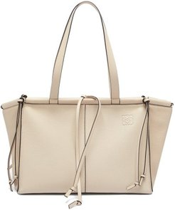 Cushion Small Grained-leather Tote - Womens - Grey