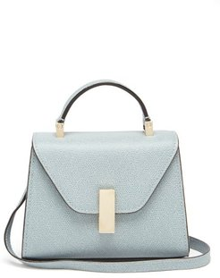 Iside Micro Grained-leather Bag - Womens - Light Blue