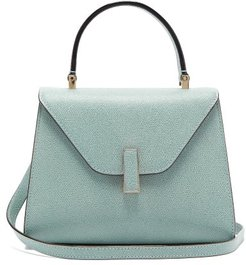 Iside Mini Grained-leather Bag - Womens - Light Blue