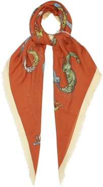 Frayed-edge Animal-print Twill Scarf - Womens - Orange