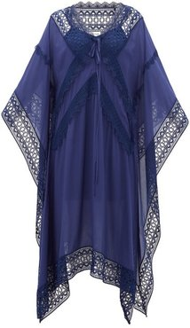 Lace-trimmed Voile Kaftan - Womens - Navy