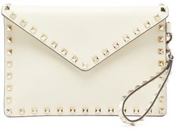 Rockstud Leather Envelope Pouch - Womens - Ivory