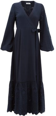 Kate Broderie-anglaise Wrap Dress - Womens - Navy