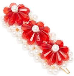 Floral Bead And Faux Pearl-embellished Hair Clip - Womens - Red