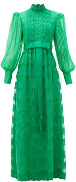 Lace-trimmed Tiered Georgette Gown - Womens - Green