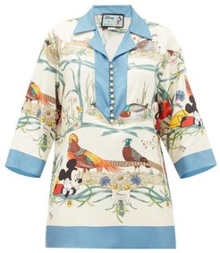 Mickey Mouse And Animal-print Silk Blouse - Womens - Blue Multi