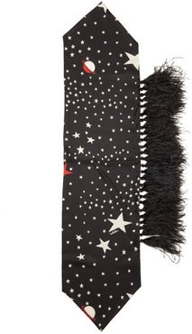 Star-print And Feather Silk Scarf - Womens - Black White