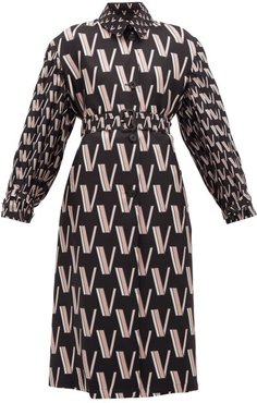 V-print Pleated Silk-faille Trench Coat - Womens - Black White