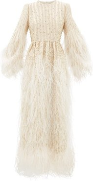 Feather-trimmed Beaded Wool-blend Gown - Womens - Ivory Multi