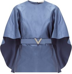 Belted Cape-sleeve Silk-satin Top - Womens - Blue