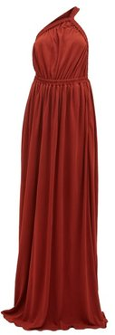 The One Shoulder Maxi Dress - Womens - Dark Red
