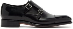 Carter Leather Monk Shoes - Mens - Black