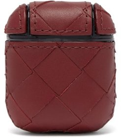 Intrecciato Leather Airpods Case - Womens - Burgundy