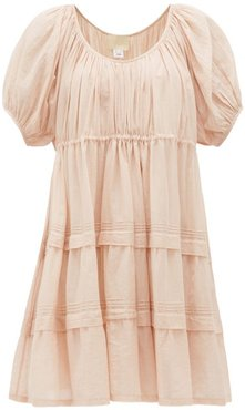 Jaipur Poet Pintucked Cotton-voile Mini Dress - Womens - Light Pink