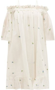 Garden Floral-embroidered Cotton-blend Gauze Dress - Womens - White Print