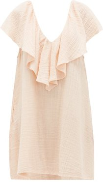 Brigitte Ruffled-neck Cotton-gauze Dress - Womens - Light Pink