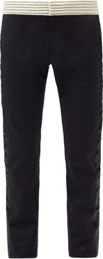 Spiritus Crocheted-waist Cotton-blend Trousers - Mens - Black
