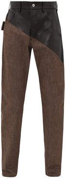 Bonded Leather-panel Jeans - Mens - Brown