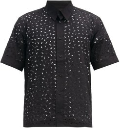 Broderie-anglaise Cotton Shirt - Mens - Black