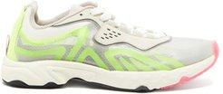 Buzz Faux-suede And Mesh Trainers - Womens - Yellow Multi