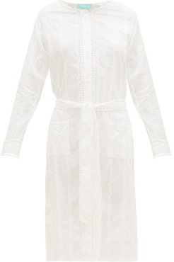 Patty Belted Cotton-voile Shirt Dress - Womens - White