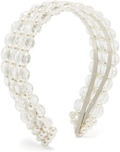 Quinn Bead And Faux Pearl Headband - Womens - White