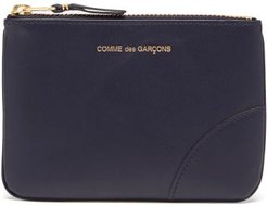 Foiled-logo Leather Coin Pouch - Womens - Navy