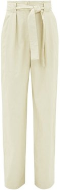High-rise Belted Faux Leather Trousers - Womens - White