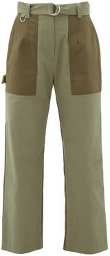 Panelled Cotton-gabardine Straight-leg Trousers - Womens - Khaki