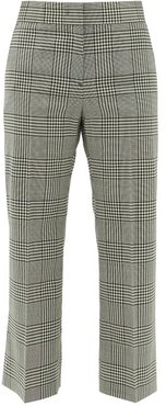 Cropped Houndstooth-check Wool Trousers - Womens - Black White