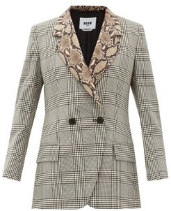 Double-breasted Snake-collar Wool Jacket - Womens - Black White