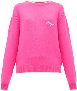 Logo-embroidered Wool And Cashmere-blend Sweater - Womens - Fuchsia