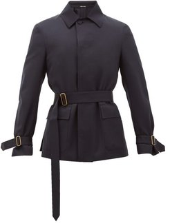 Belted Wool-twill Jacket - Mens - Navy